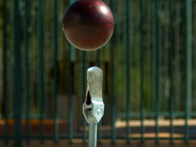 Bowling ball vs axe blade from 45m